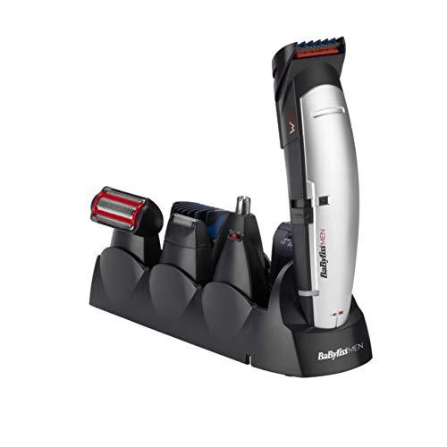 BaByliss E837E Cortapelos para cara, cabello y cuerpo, con cuchillas profesionales W-tech y 10 accesorios, color negro y gris
