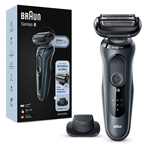 Braun Series 6 Afeitadora Eléctrica Hombre, Máquina de Afeitar Barba con Recortadora de Precisión y Cabezal SensoFlex, Recargable, Resistente al Agua e Inalámbrica, 60-N1200 S, Gris