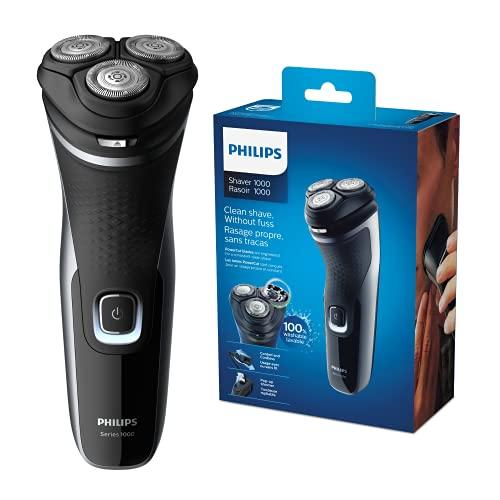 Philips Serie 000 S332/4 - Afeitadora Eléctrica Para Hombre Con Cuchillas Powercut, Cortapatillas Desplegable Para Bigote Y Patillas, 45 Min De Afeitado, Con O Sin Cable, Negro