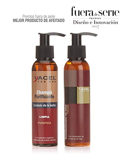 Yacel For Men - Pack Champú Purificante + Acondicionador | Barba más Suave e Hidratada | 95% Ingred. Naturales | Sin Parabenos | Con Aceite de Coco, Almendra y Creatina | Rápida Absorción - 250ml