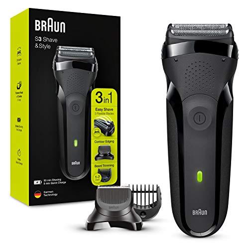 Braun Series 3 Shave&Style 300BT, Afeitadora Eléctrica 3 en 1, Máquina de Afeitar Para Hombre Con Recortadora De Precisión Para La Barba, 5 Peines, Color Negro