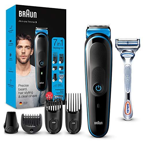 Braun Recortadora MGK3242 7 en 1, Máquina recortadora de barba, cortapelos y recortadora facial para hombre, color negro/azul, Maquina cortar pelo