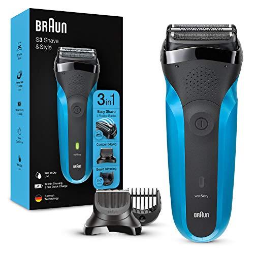 Braun Series 3 Afeitadora Eléctrica Hombre 3 en 1 Shave&Style, Máquina de Afeitar Barba para Uso en Seco y en Mojado, 310 BT, Negro/Azul