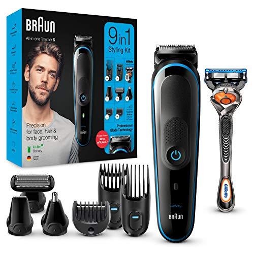 Braun MGK5280 9 en 1 - Máquina recortadora de barba, set de depilación corporal y cortapelos para hombre, color negro/azul, Maquina cortar pelo