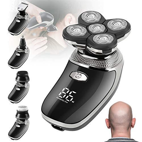 Maquina Afeitar Cabeza, Recargable Afeitadora Cabeza Hombre Navaja de cabeza calva USB Afeitadoras rotativas Sin cable Impermeable Afeitadora para la Calva Barbero con Cepillo